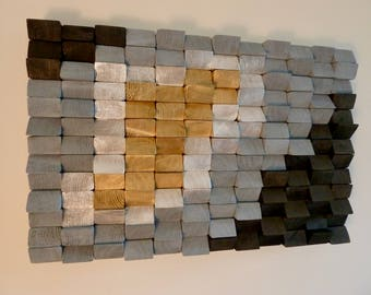Wall Art Painted Wooden Sculpture Abstract
