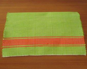 Handmade woven table runner   Green and orange table runner   Home decor   Kitchen decor  