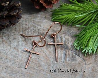 Rustic Hammered Copper Cross Earrings, Christian Jewelry, Religious Jewelry, Cross Earrings, Copper Cross Earrings