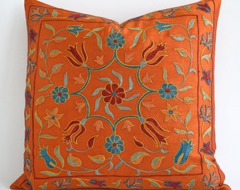 Silk Hand Embroidered Suzani Pillow Cover, suzani pillow, suzani, pillow cover, orange pillow, orange throw pillow, orange decorative pillow