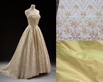 Custom Made 1950s Givenchy Gold Sequin Wedding Dress