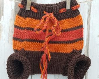 Brown & Orange Striped Wool Soaker Cloth Diaper Cover (small)