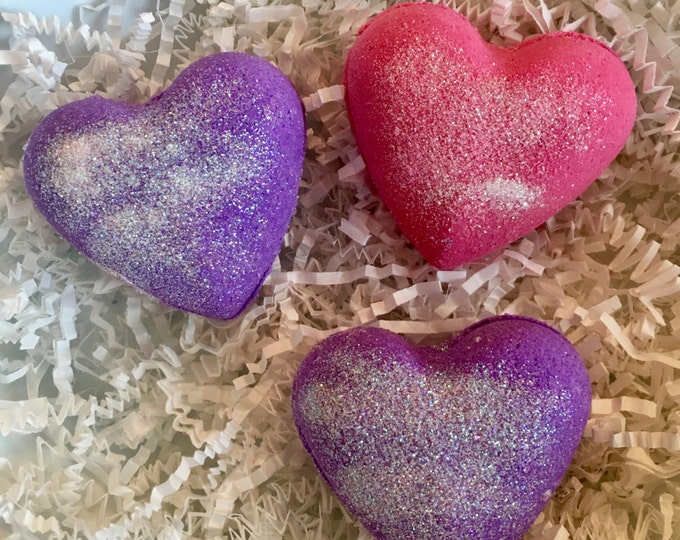 3pc heart bath bombs set , bath bomb gift set , girls bath bombs