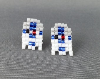 R2D2 Earrings - Star Wars Earrings Pixel Earrings Robot Earrings 8-bit Jewelry Seed Bead Earrings Droid Earrings