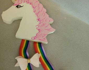 Unicorn bow holder, hair accessories, ribbon, bow accessories, girls bedroom, rainbow, home decor