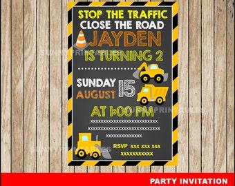 Construction Chalkboard invitation; Chalkboard Construction Birthday invitation, Construction party Invitation Digital File