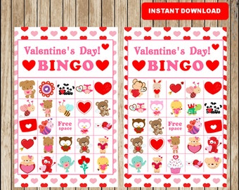 printable 30 valentines bingo cards printable valentine bingo game printable valentines day game for - Valentine Bingo Cards