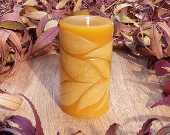 Small Pillar, Autumn Leaves - Beeswax Candle
