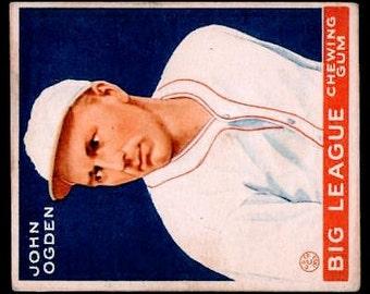 VINTAGE 1933 Goudey #176 John Ogden EX++ Excellent++ Rc RARE