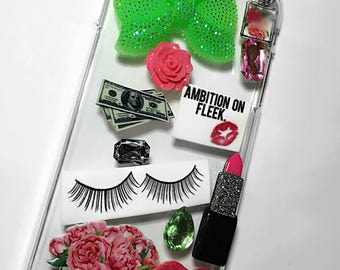 Green Bow Phone Case, Bling Rhinestone Phone Case, Flower phone case, Pink Phone Case, Makeup Phone Case, Heart Phone Case