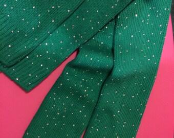 American Apparel bedazzled jeweled crystallized crystal gem rhinestone sexy green cotton blend thigh high stretchy stretch big socks USAmade