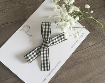 hand tied gingham checked bow