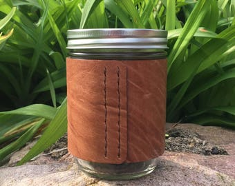 Reclaimed Leather Hand-stitched Mason Jar Sleeve