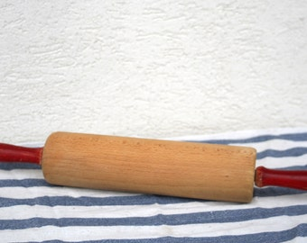 Vintage French Rustic Rolling Pin With Red Handles. French Home Decor. Kitchenalia.