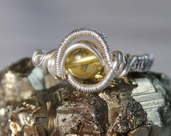 Citrine ring wrapped silver plated wire
