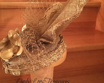 Gold Hat With Gold Orchids & Gold Veiling, OOAK, Bridal Head Piece, Races Hat, Derby Hat