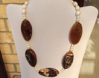 Brown agate necklace, beaded necklace, brown necklace, pearl necklace, statement necklace, chunky necklace, big bold necklace