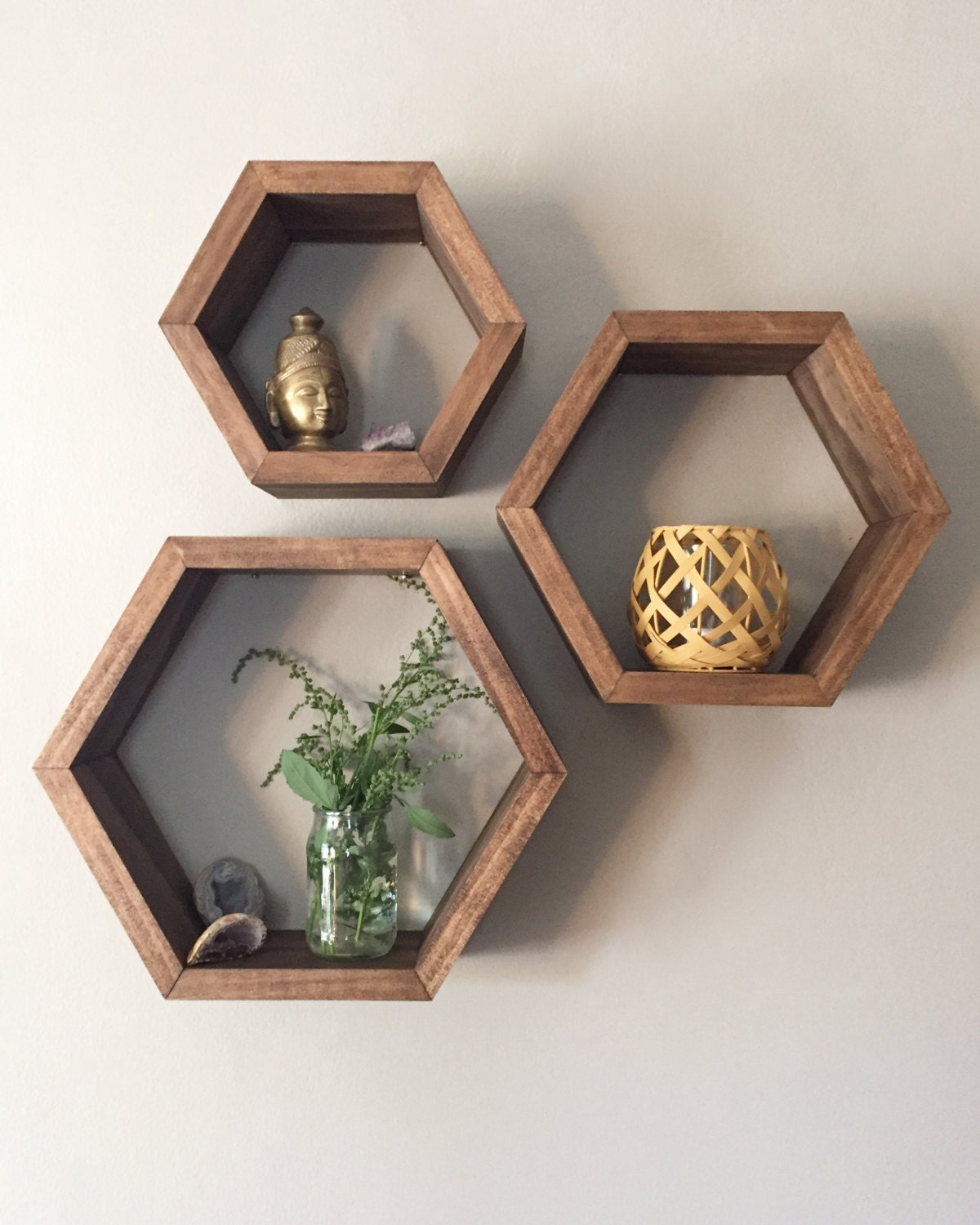 Set of 3 Walnut Stain with Rose Gold Interior Hexagon Shelves