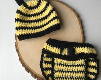 Newborn outfit-bee newborn outfit-crochet newborn set-crochet bee outfit-newborn hat-baby photo prop-ready to ship