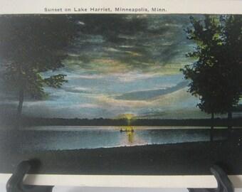 Vintage Post Card Postcard, Sunset on Lake Harriet Minneapolis, Minn Unmailed. Great color