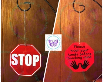 """3"""" Octagon """"STOP Wash Your Hands Before Touching Mine"""" Keychain 