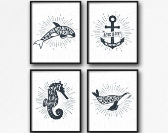 "Nautical Print Set 4 of 8x10"", Nautical Quote, Nautical Typography, Nautical Poster, Anchor Quote, Seahorse Quote, Sealion Quote, Orca Whale"