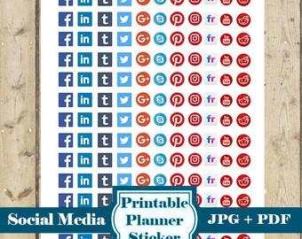 SOCIAL MEDIA Icon Planner Stickers – Printable Icon Stickers Planner Stickers Social Media Icon Stickers Erin Condren Happy Planner DOWNLOAD