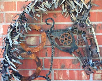 Welded Horse Head Sculpture