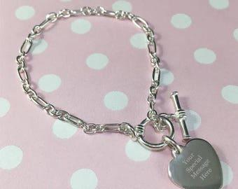 Children's Personalised Silver Heart Bracelet