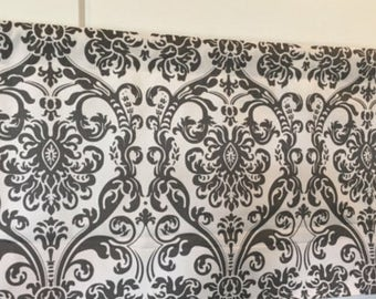 Premier Print Damask Storm Gray and White Curtain Tie Up Cafe Curtain Window Treatment