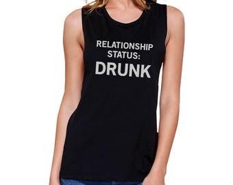 Relationship Status Drunk Black Sleeveless Simple Cute Funny Graphic Muscletop  (JMS113BK)