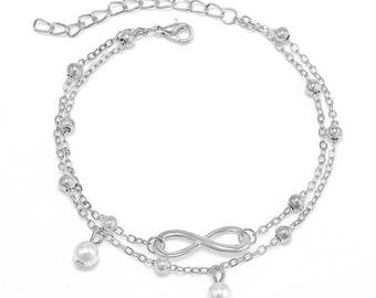 1 x Dual Chain Pearl Charm Anklet
