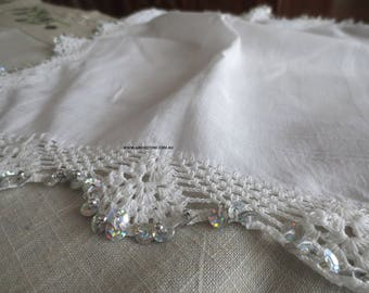 Silver sequined and beaded square mandili with scalloped crochet edge  (handkerchief for dancing)