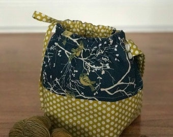 Small Project Knitting Bag- Bird and Dot