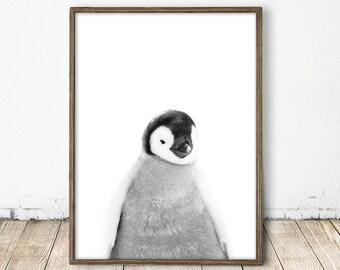 penguin print, baby penguin print, arctic print, baby penguin art, penguin photo, penguin nursery, printable nursery art, nursery arctic art