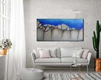 ORIGINAL OIL PAINTING 48x24 Wide Canvas Art Seascape Blue Abstract Gray Abstract Large Wall Art Wall Decor Abstract Blue Painting N.Prutski