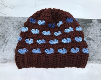 Heart Slouchy Hat/Valentine/Love/Crochet/Brown/Blue
