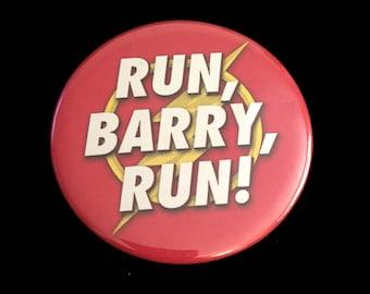 "Button Pin DC The Flash Run Barry Run Barry Allen Grant Gustin Lightning Bolt Red Yellow 2.25"""