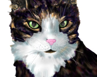 Colorful Custom Single Pet Portrait- DIGITAL