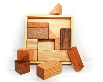 Wooden toys, Geometric building blocks set, Montessori inspired wood toy, Waldorf wood toy, Different shapes, Kids boys girls toddler gift