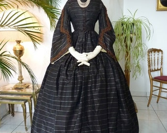 Civil War Era Silk Dress, Antique Dress, Antique Gown, Victorian Dress, Robe ancienne, antikes Kleid, 1860s