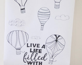Air Balloon Coloring Page, Live a Life of Love, Poster Printable