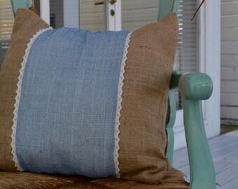 Burlap Cotton Pillow, Eco Friendly Cushion, Blue and Natural Burlap with Cotton Trim Pillowcase, Rustic Natural Throw, Decorative Cushion