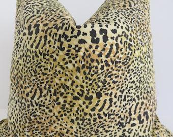 Leopard Pillow Cover, Brown Black Leopard Cotton Fabric, Pillow Cover, Leopard Fabric, Decorative Pillow
