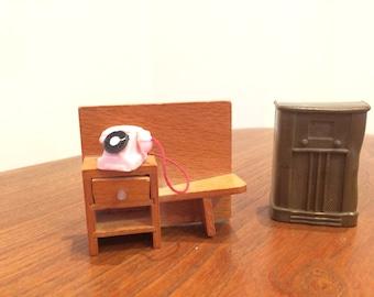 Vintage Barton Telephone Table and Renwel Radio