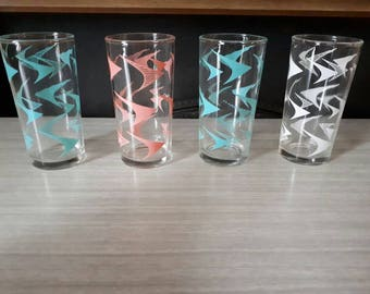 Vintage Set of Decorated Highball Glasses Pastels