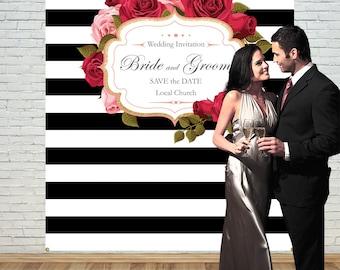 wedding backdrop,Rose Backdrop,Wedding PhotoBooth,Custom Party Backdrop,Stripe Backdrop,Birthday backdrop,Party Banner,Event backdrop