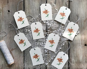 Watercolor Lily Gift Tag Set
