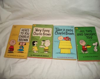 Four Vintage 60s Charlie Brown, Snoopy, Peanuts Books by Charles M. Schulz