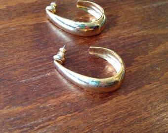 Vintage Gold Colored Hoop Earrings